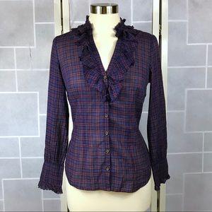 ✂️ LOFT plaid blouse